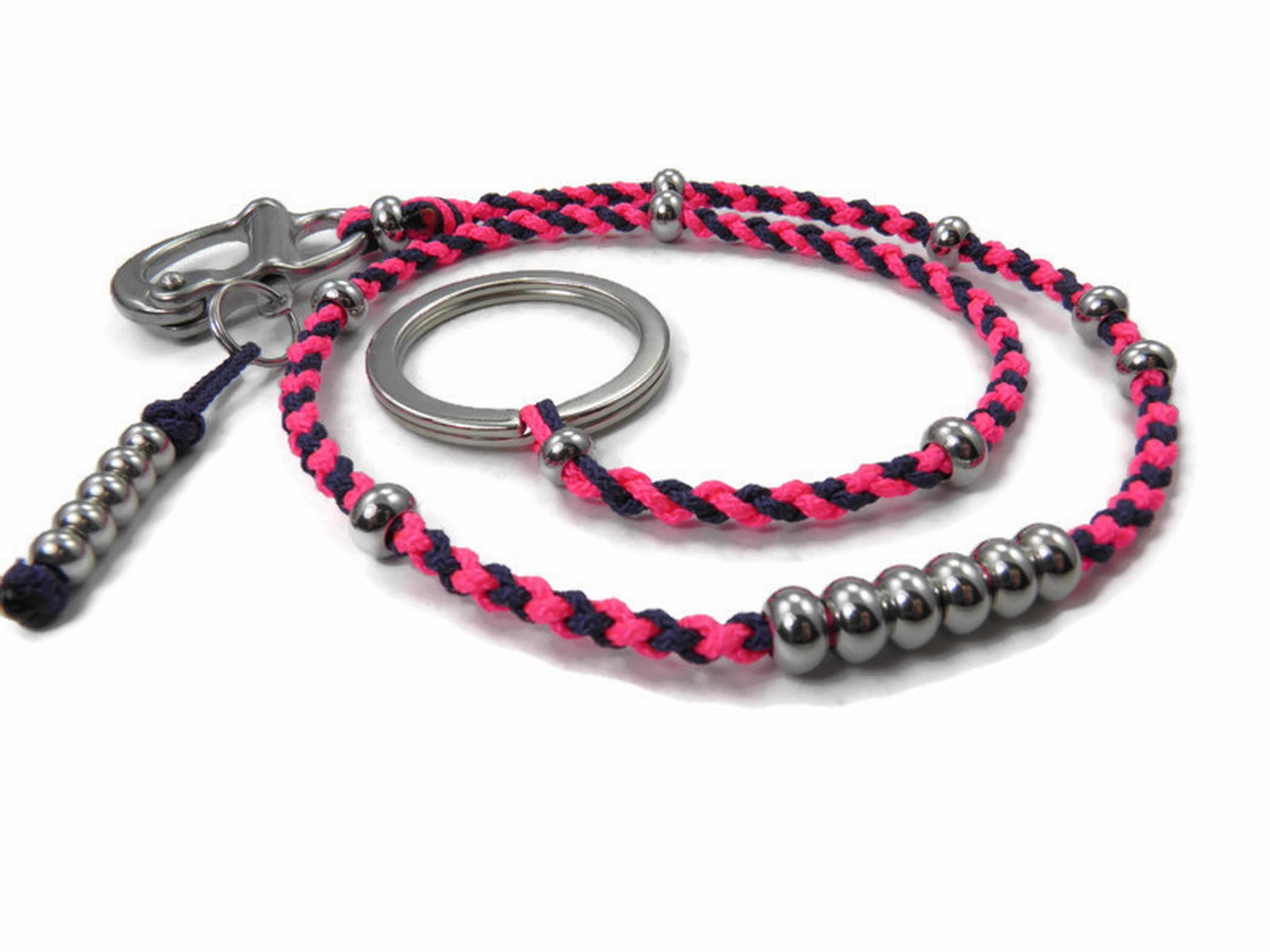 Paracord Portemonnaie Kette-Schlüsselkette-3 cm Edelstahl Karabiner-Rose Pink